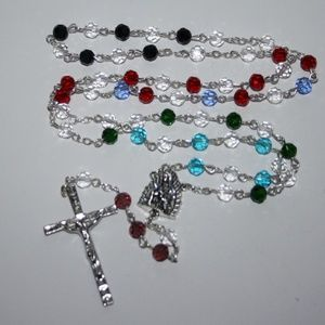 Beautiful vintage colorful rosary necklace